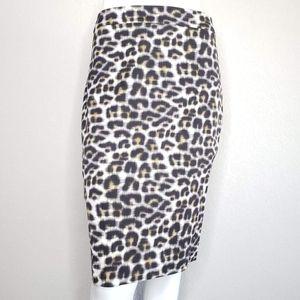 Ann Taylor   Leopard Animal Classic Pencil Skirt 6